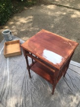 Lauren Hillner: refinished an old side table for my new apartment (before photo)